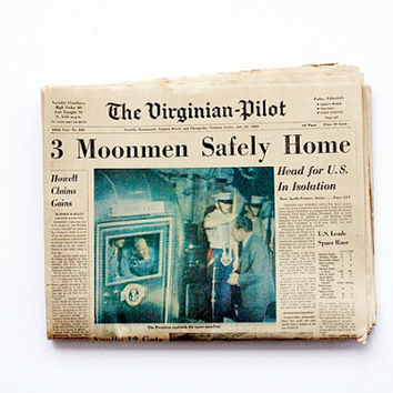 Original July 25, 1969 Newspaper - Moonmen Headlines,  The Virginian-Pilot Newspaper, Complete Paper in Four Sections, 1960s Pop Culture