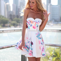 PRE ORDER - FLOWER BOMB DRESS (Expected Delivery 3rd Febuary, 2015) , DRESSES, TOPS, BOTTOMS, JACKETS & JUMPERS, ACCESSORIES, $10 SPRING SALE, PRE ORDER, NEW ARRIVALS, PLAYSUIT, GIFT VOUCHER, $30 AND UNDER SALE, SWIMWEAR,,White,Print Australia, Queensland,