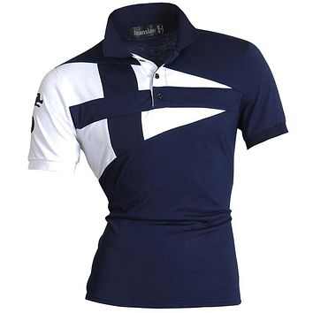 Men Summer Casual Polo Short Sleeves Shirt Slim Fit Trend Solid