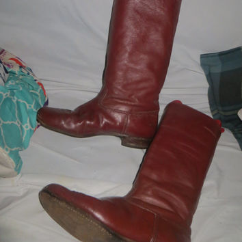 Vintage 70s Oxblood Red EQUESTIAN Campus  ENGLISH  WOMENS  riding Boots  10