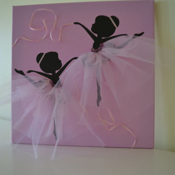 Dancing Ballerinas. Lavender/Pink wall decor.