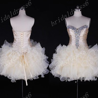 2014 Crystals Champagne Sweetheart Strapless Lace-up Short Ruffled Bridesmaid Dress,Mini ball Gown Organza Party Prom Dress
