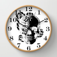 To the core, graphic rose skull Wall Clock by Kristy Patterson Design