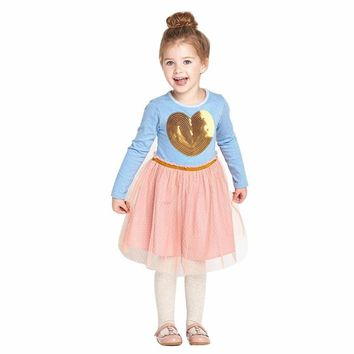 Cotton Net Yarn dresses baby mini drss Sequins Love Heart Long Sleeve infant Princess o neck cute Clothing 2-6Y