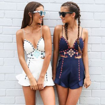 Fashion Strap Sleeveless Hollow Deep V Backless Embroidery Romper Jumpsuit Shorts-1