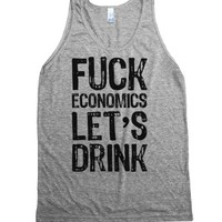 let's drink-Unisex Athletic Grey Tank