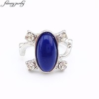 The Vampire Diaries Ring Elena's Daylight Sun Protection Ring Classic Design Blue Stone Ring For Women Fashion Accessories