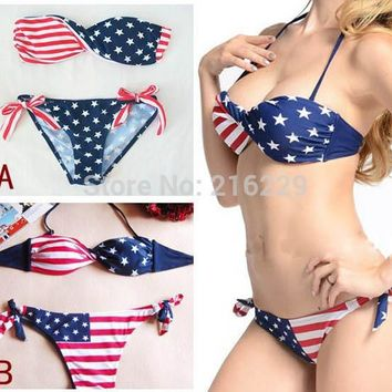 Sexy Women Summer Stars And Stripes USA Flag Bikini Padded Twisted  Bandeau Tube American Swimwear Sets OL203