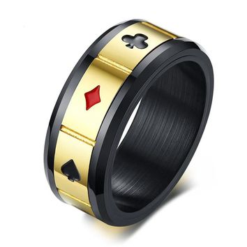 Men's Peace Luck Fortune Wisdom Love Spinner Ring
