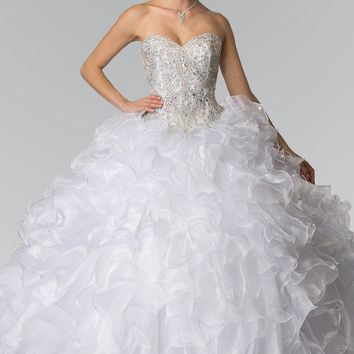 White princess quinceanera dress with ruffles gls 2209