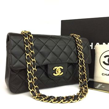 CHANEL Double Flap 23 Quilted CC Logo Lambskin Chain Shoulder Bag Black/ 2gBBI x