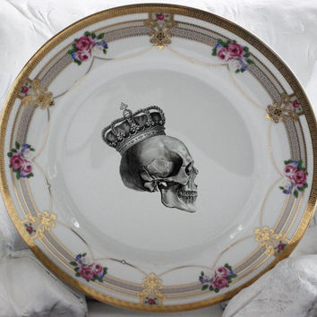5-Piece Raised Gold Skull Flower Dinnerware Set, CUSTOMIZABLE, Halloween Dishes, Floral Skeleton Halloween Goth Roses China, Payment Plans