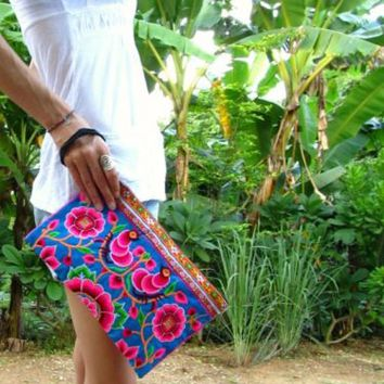 Details about Ibiza Neon Summer Festival Flower Clutch Bag Handbag Boho Hipster Hippie Travel