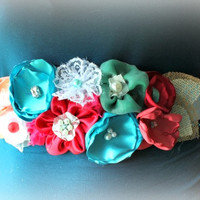 Coral Red and Blue Flower Sash for Maternity Photo Prop - Bridal Sash - Pregnancy Photo Prop - Flower Girl Sash