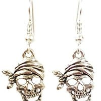 Stainless Steel Dangle Earrings Pirate Skull Silver Tone