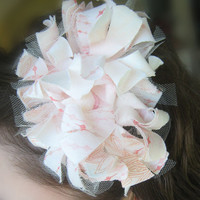 Hair Barrette Shabby Chic Flower Blush Pink & Coral