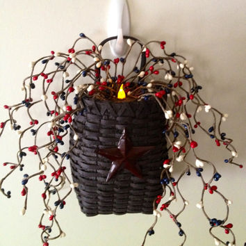 Patriotic Wall Basket with LED Timer Candle, Pip Berries
