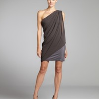 Smoke Grey Chiffon Alice One Shoulder Dress