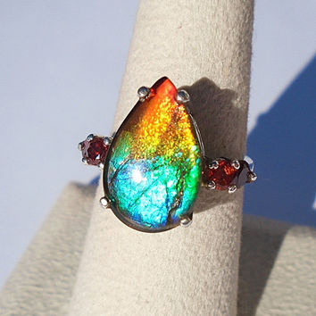 Canadian Ammolite Sterling Silver Ring Size 6.5