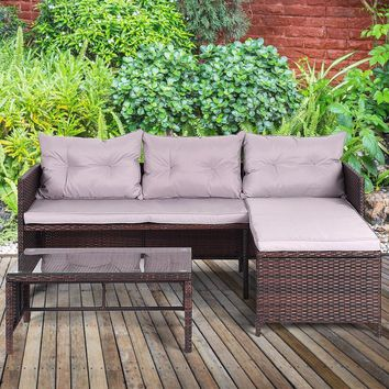 Giantex 3 PCS Outdoor Rattan Furniture Sofa Set Lounge Chaise Sofa ans Coffee Table Cushioned Patio Garden Furniture