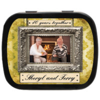Vintage Frame Personalized Photo Mint Tins for anniversaries, weddings, birthdays, reunions, parties as party favors and candy favors!