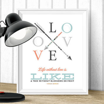 Love Quote - Digital Download - Printable 8x10 - LOVE letters - Tribal Art Print - Instant Download - Love Art - Typography Poster
