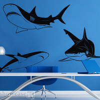 Shark Dive - Vinyl Wall Art - FREE Shipping - Fun Shark Swim Wall Decal