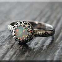 Opal Ring, October Birthstone Ring, Ready to Ship, US Size 7, Sterling Silver gemstone Ring, Fire Opal Stacking Ring, Birthstone Ring