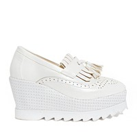 White Tassel Loafer Platforms