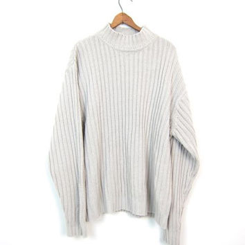 Slouchy Knit RIBBED Sweater Off White Cream Boyfriend Pullover Oversized Slouchy 90s Rib Knit COZY Soft Sweater Mock Neck Vintage Men's XL