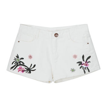 White Embroidery Patches Detail Denim Shorts
