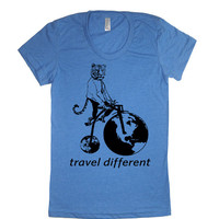 Womens Tiger Riding A Bike Travel Different T Shirt tee - American Apparel Tshirt - S M L XL (20 Color Options)