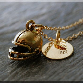 Shop gold fan pendant on wanelo gold football helmet charm necklace initial charm necklace per aloadofball Image collections
