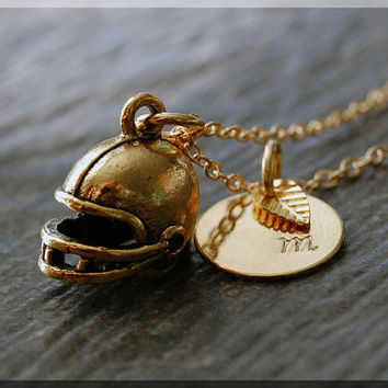 Gold Football Helmet Charm Necklace, Initial Charm Necklace, Personalized, Football Charm, Football Helmet Pendant, Football Fan Jewelry