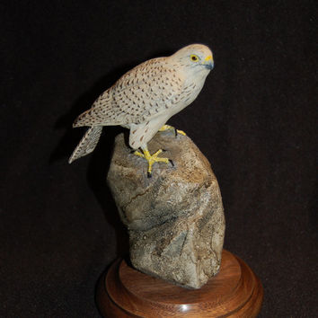 Gyrfalcon handmade miniature wood carving figurine handmade gift hand carved wooden bird gift for him cift idea anniversary bird carving