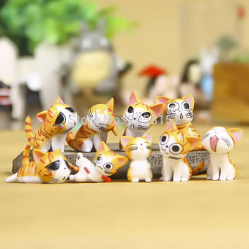 (9pcs set) Cheese cat miniature figurines toys cute lovely Model Kids Toys 3cm PVC japanese anime children figure world