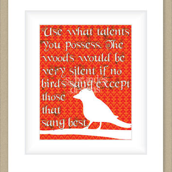 8x10 Graphic Print Orange Red Bird Artwork, Use Your Talents