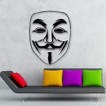 Wall Vinyl Decal Mask Guy Fawkes Mask V for Vendetta ig1507