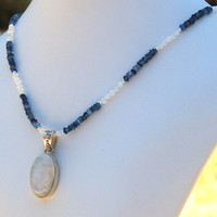 Moonstone Pendant with Kyanite and Moonstone Necklace