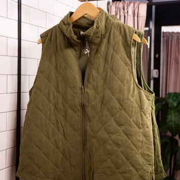 Take Me Back To London Quilted Vest, Olive | Plus Size