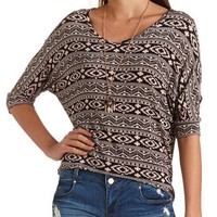 TRIBAL PRINT HIGH-LOW DOLMAN TEE