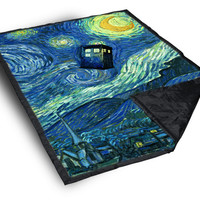 iOffer: Tardis Doctor Who starry night art painting on Blanket for sale