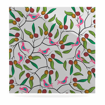 """Famenxt """"Birds World"""" White Pink Luxe Square Panel"""