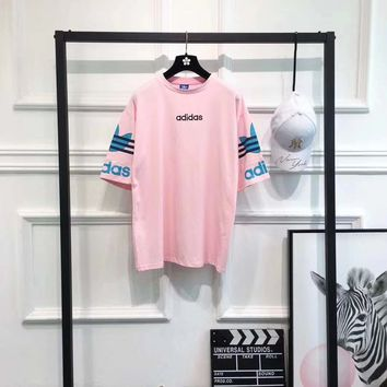 """Adidas"" Women Loose Casual Letter Embroidery Clover Print Multicolor Short Sleeve T-shirt Dress"