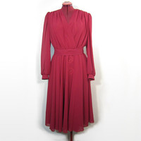 1980s does 1940s - Raspberry Pink Dark Fuschia Wrap Look Dress with Plunging V Neck, Long Sleeves, Full Flowing Skirt Matching Belt Vegan