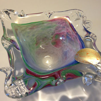 Murano Art Glass Dish Rainbow Pastel Stretched Folded Diamond Shaped Swirled Italy Vintage 1970s