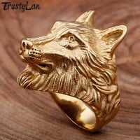 Retro Punk Rock Animal Jewelry Male Gold Color Stainless Steel Men's Wolf Head Rings For Man Best Friend Party Gifts TrustyLan