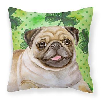 Fawn Pug St Patrick's Fabric Decorative Pillow BB9892PW1414