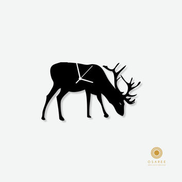 Deer silhouette nursery wall clock for kids room decor, gift for children