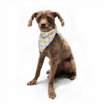 "Tobe Fonseca ""Portugal Pattern RGB"" Yellow Blue Digital Pet Bandana"
